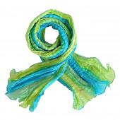 Echarpe soie froissée turquoise