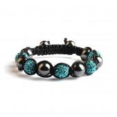 Shamballa 5 Perles - Bleu / Hematite